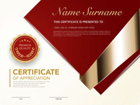 Illustration pour diploma certificate template red and gold color with luxury and modern style vector image, suitable for appreciation.  Vector illustration. - image libre de droit