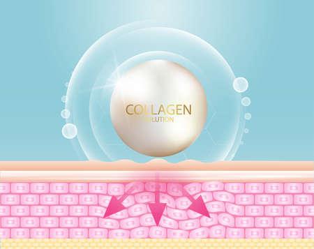 Illustration pour Collagen serum and vitamin background concept skin care cosmetics solution. - image libre de droit