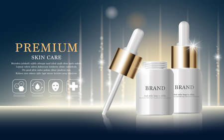 Illustration pour Hydrating facial serum for annual sale or festival sale. silver and gold serum mask bottle isolated on glitter particles background. Graceful cosmetic ads, illustration. - image libre de droit