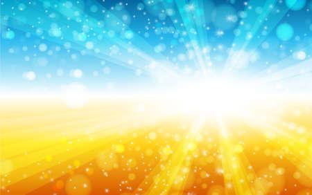 Illustration pour summer sun light burst blue, yellow and orange background. Vector illustration. - image libre de droit