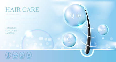 Illustration pour Hair care products, prevent split ends serum shampoo, cosmetics concept, vector. - image libre de droit