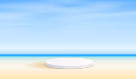 Illustration pour Cosmetic beach background and premium podium display for product presentation branding and packaging . studio stage with shadow of the sea and sky background. vector design. - image libre de droit