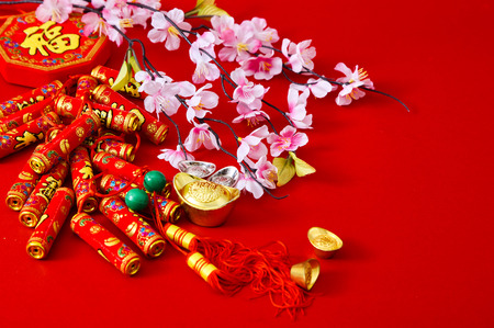 Photo pour Decorate Chinese new year 2019 on a red - image libre de droit