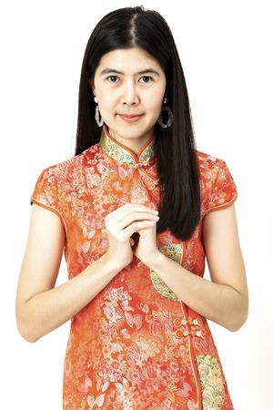 Photo pour Happy Chinese new year 2019 Portrait of Asian woman no white background - image libre de droit