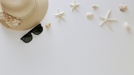 Traveler accessories Top view vacation summer on white background with empty space for text. Travel  concept.
