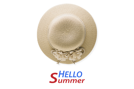 Summer holiday background, flat lay beach women's accessories: straw hat on white background with empty space for text.  text hello summer