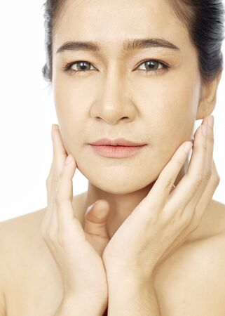 Photo for Beautiful Young asian Woman youthful bright skin with clean fresh skin look. Girl beauty face care. Facial treatment, Cosmetology, beauty and spa, skin care concepts - Royalty Free Image