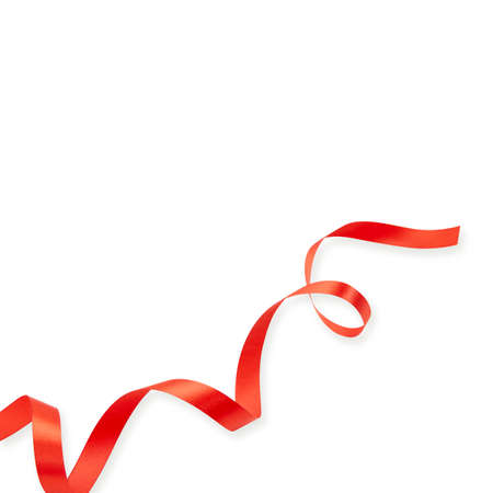 Photo pour Red ribbon shiny rolled isolated on white background. - image libre de droit