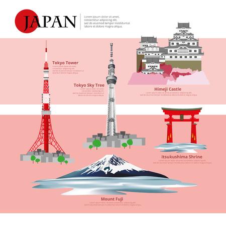 Illustration pour Japan Landmark and Travel Attractions Vector Illustration? - image libre de droit