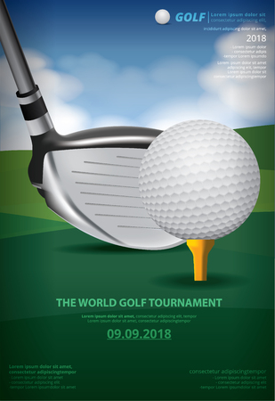 Poster Golf Championship Vector Illustration with golf ball and club