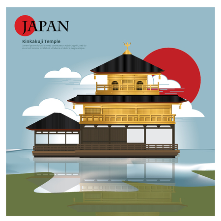 Kinkakuji Temple Japan Landmark and Travel Attractions Vector Illustration