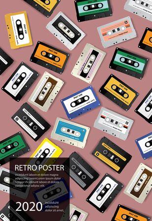 Photo pour Vintage Retro Cassette Tape Poster Design Template Vector Illustration - image libre de droit