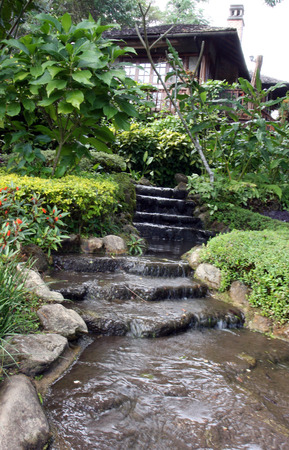 Beautiful decorative home garden stone waterfall pond