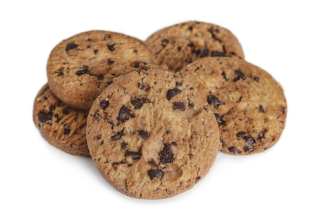 Photo pour Chocolate chip cookies on white table background. Copy space for your text or image. - image libre de droit