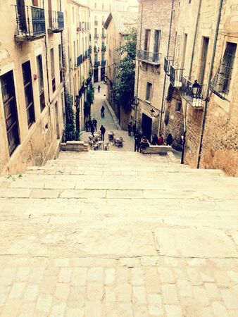 Street view from a stairway, Girona, Spain
