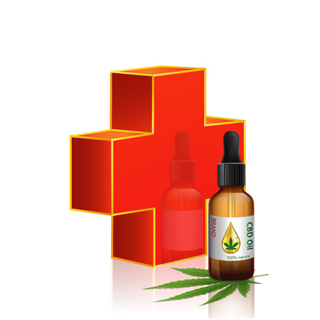 Illustration for Red cross and cannabis oil bottles vector. Green Marijuana Leaves, Cannabis leaf, pills and capsules. - Royalty Free Image