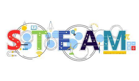 Illustration pour STEAM STEM Education. Science Technology Engineering Arts Mathematics. Gear, calculate. - image libre de droit