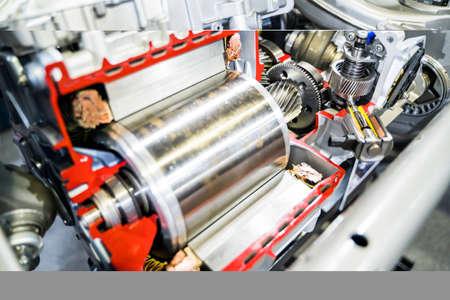 Photo pour Cross-section of hybrid gear motor Electric power for cars.Shallow focus effect. - image libre de droit