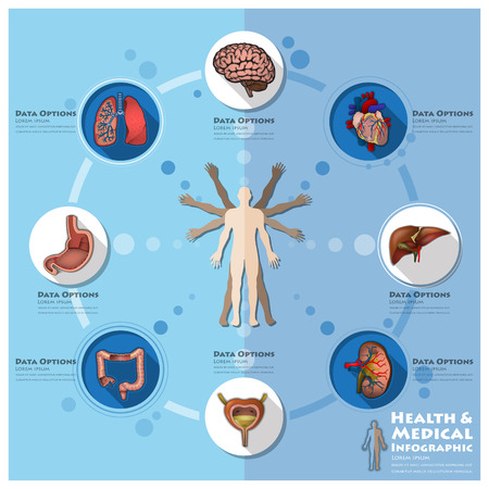 Health And Medical Infographic Infocharts Science Background Design Templateのイラスト素材