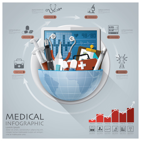Ilustración de Global Medical And Health Infographic With Round Circle Diagram - Imagen libre de derechos
