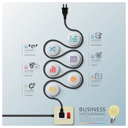 Curve Electric Wire Line Diagram Business Infographic Design Template