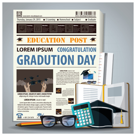 Education And Graduation Newspaper Lay Out With Pencil, Glasses, Stationery Design Template