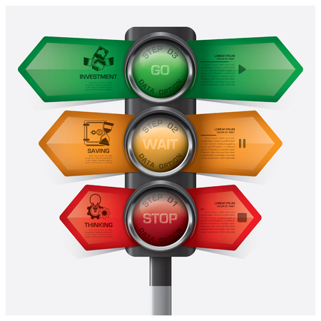 Business And Financial With Traffic Light Sign Infographic Diagram Vector Design Template
