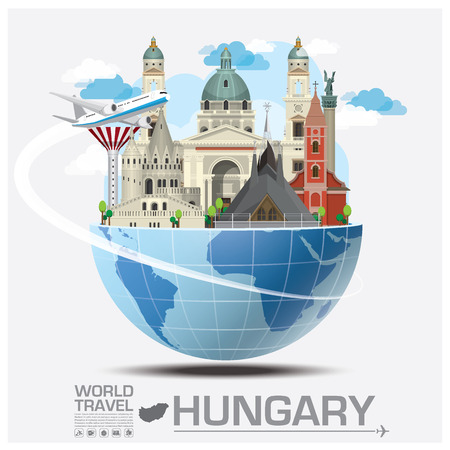 Illustration for Hungary Landmark Global Travel And Journey Infographic Design Template - Royalty Free Image