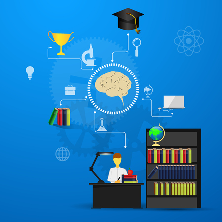 education, online learning and tree of knowledge icons in flat style
