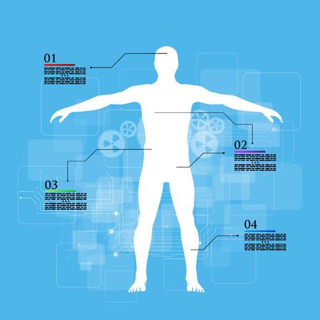 Vector illustration of medicine infographics. Schematic description of the human body.