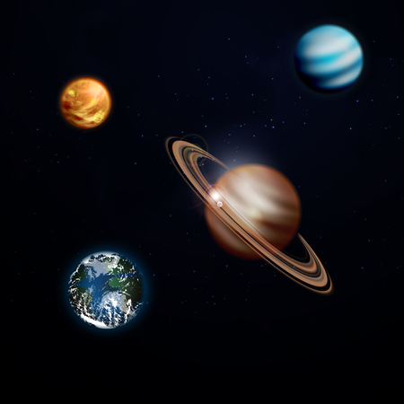 A set of planets in space, Saturn, earth, Venus. Vectorのイラスト素材