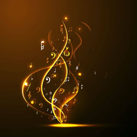 Illustration pour Music background abstract music notes and musical key. Fun concept. - image libre de droit