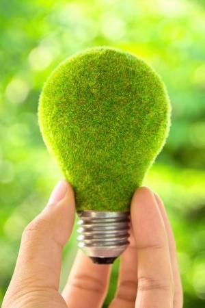 Photo pour hand holding eco light bulb energy concept - image libre de droit