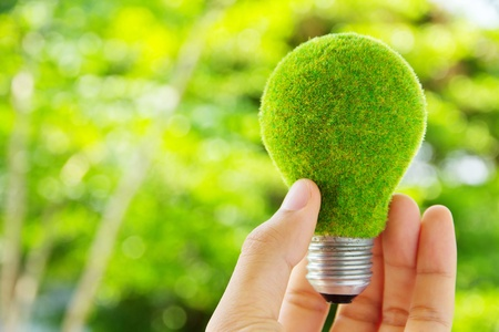 Photo for hand holding eco light bulb energy concept - Royalty Free Image