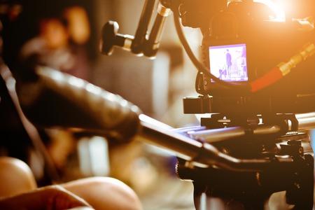 Photo pour Filming with professional camera, Film Crew. - image libre de droit