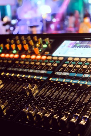 Photo for Closeup of an audio mixing control panel - Royalty Free Image