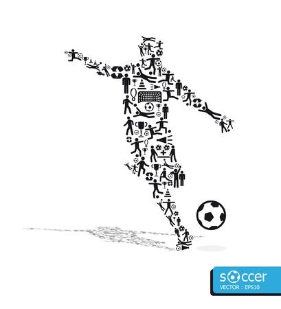 Ilustración de icons sports  concept soccer on white background - Imagen libre de derechos