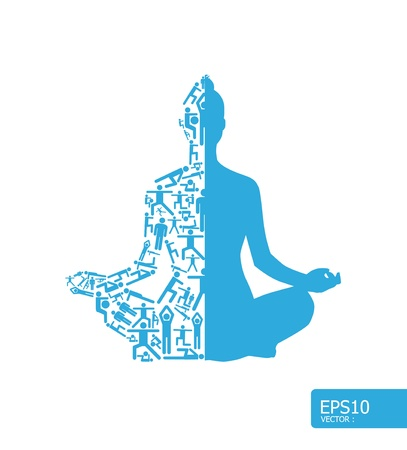 Photo for Elements are small icons sports make in active girl doing yoga shape Vector illustration  concept - Royalty Free Image