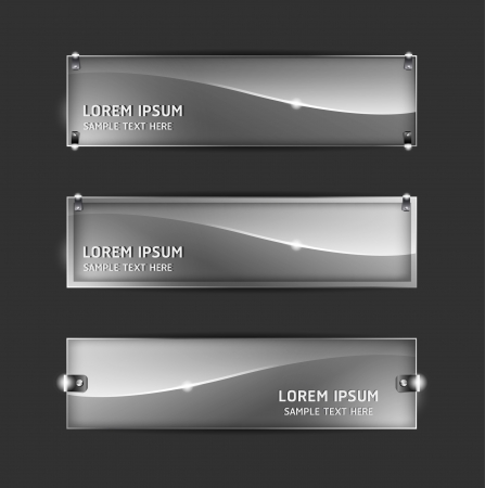 Collection abstract glass banner design Horizontal