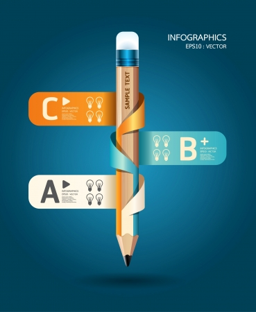 Creative Template with pencil ribbon banner can be used for infographics banners concept illustration