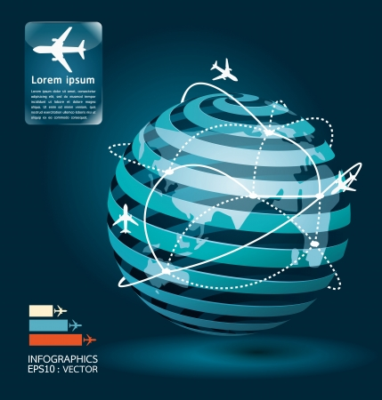 Photo for infographic airplane connections network concept design    illustration - Royalty Free Image