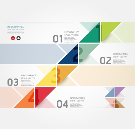 Modern Design Minimal style infographic template / can be used for infographics / numbered banners / horizontal cutout lines / graphic or website layout