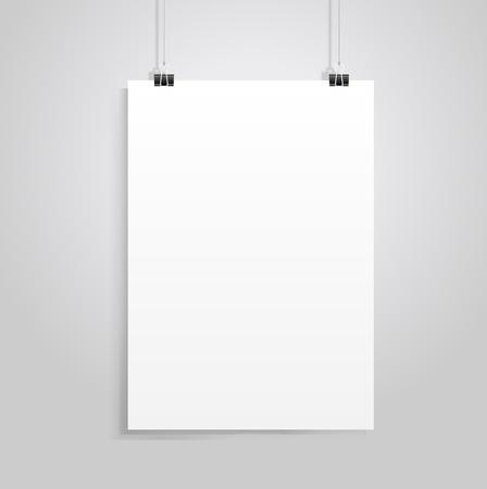 Illustration pour white paper with clip vecrot - image libre de droit