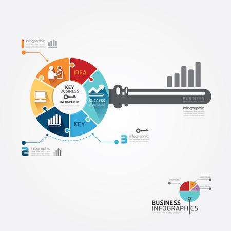 Infographic Template with key business jigsaw banner   concept vector illustration