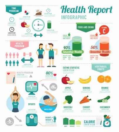 Photo for Infographic health sport and Wellness template design . concept vector illustration - Royalty Free Image