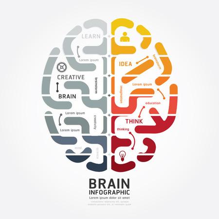 Illustration pour infographics vector brain design diagram line monochrome colour style template - image libre de droit