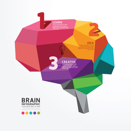 Vector infographic Brain Design Conceptual Polygon Style,Abstract vector Illustration