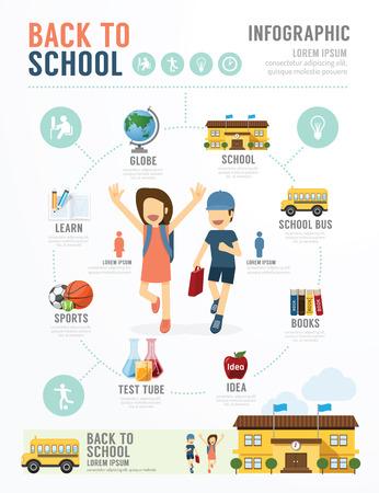 Foto de Education School Template Design Infographic . concept vector illustration - Imagen libre de derechos