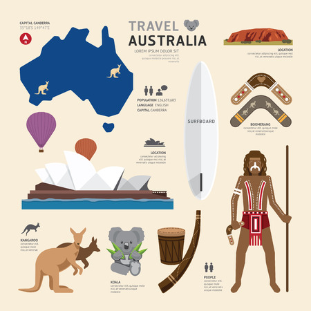 Vektor für Travel Concept Australia Landmark Flat Icons Design .Vector Illustration - Lizenzfreies Bild