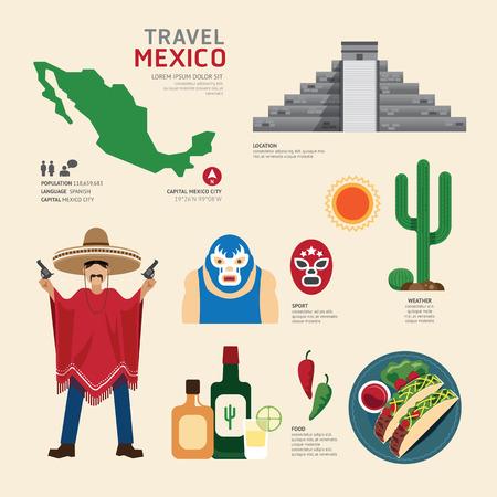 Illustration pour Travel Concept Mexico Landmark Flat Icons Design .Vector Illustration - image libre de droit